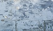 Blue Concrete Wall Grunge Texture With Cracks. Cracks, Scrapes, Peeling Old Paint And Plaster On Bac poster