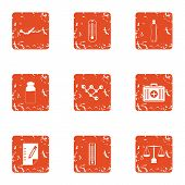 Recovery Professional Icons Set. Grunge Set Of 9 Recovery Professional Vector Icons For Web Isolated poster