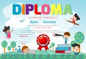 Certificates Kindergarten And Elementary, Preschool Kids Diploma Certificate Pattern Design Template poster