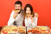 Happy Family Time - Couple Enjoying Pizza. Leisure, Food&drinks, People, Holidays Concept - Smiling  poster