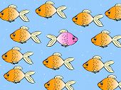 One Single Fish Swimming In Different Direction