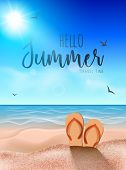 Beach Summer Background, Sunny Sand Tropical Travel Party Coast Background With Slippers On Sand. poster