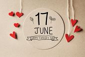 17 June Happy Fathers Day Message With Handmade Small Paper Hearts poster