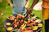 Barbecue dinner at a summer party poster
