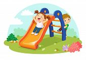 Vector Illustration Of Cute Kids Having Fun On Slide In Playground poster