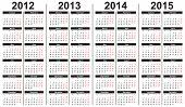 Template for calendar 2012-2015