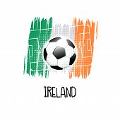 Hand Written Word ireland With Soccer Ball, Soccer Field And Abstract Colors Of The Irish Flag. Ve poster