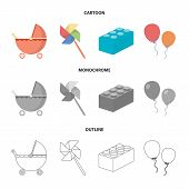 Stroller, Windmill, Lego, Balloons.toys Set Collection Icons In Cartoon, Outline, Monochrome Style V poster