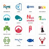 Set Of 16 Simple Editable Icons Such As Cattle Company, Fishing Game, Lacrosse, Four  Hearts, Little poster