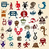 image of monster symbol  - Many cute doodle monsters - JPG