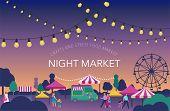 Night Market, Summer Fest, Food Street Fair, Family Festival Poster And Banner Colorful Design poster