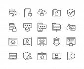Simple Set Of Data Security Related Vector Line Icons. Contains Such Icons As Firewall, Pirate Flag, poster