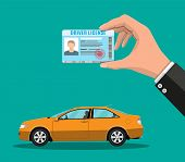 Car Driver License Identification Card In Hand With Photo. Orange Sedan Car. Driver License Vehicle  poster