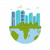 Happy World Environment Day Postcard With Green City Background, poster