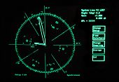 screen of oscilloscope for old video repair; black background with bright green round, symbols and i