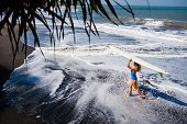 Sporty Girl In Bikini With Surf Board Walk On Black Sand Beach. Young Surfer Woman Run By Water Pool poster