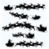 Illustrations of Santa's Sleigh silhouettes isolated on white background