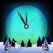 Im Uhrzeigersinn auf den Vollmond und die Winterlandschaft für Silvester Mitternacht