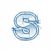 Blueprint font sketch - letter S - marker drawing