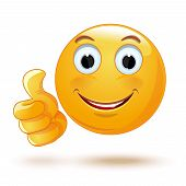 Emoji Thumb Up. Laik. Cool. Emoticon Showing Thumb Up. Vector Illustration poster