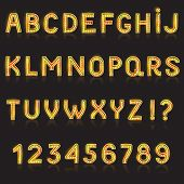 Alphabet Abc Vector Glowing Alphabetical Font With Bright Glitter Letters Alphabetic Typography Illu poster