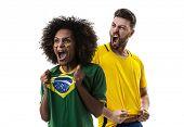 Young Brazilian couple fan celebrating poster