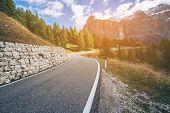 Mountain Road Highway Of Dolomite Mountain - Italy poster