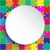 White Circle Banner Colorful Background Puzzle. Jigsaw Puzzle Banner. Vector Illustration Template S poster