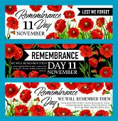 Remembrance Day Lest We Forget Banner With British Legion Red Poppy Flower. Floral Memorial Card For poster