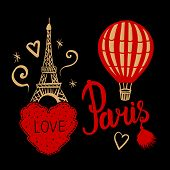 Set Red Balloon And Gold Hand Draw Paris Eiffel Tower Isolated On Dark Background poster