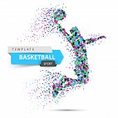Dot Basketball Illustration. Basketball Player Throws The Ball. Vector Eps 10 poster