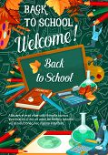 Back To School Sale Promo Web Banner For September Autumn Seasonal School Store Discount Offer On Gr poster