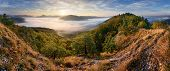 Autumn Sunrise Above Mist And Forest Landscape, Slovakia, Nosice poster