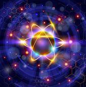 atom symbol, technology background & chemical formulas. Bitmap copy my vector ID 81171769