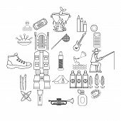 Entertainment On The Water Icons Set. Outline Set Of 25 Entertainment On The Water Vector Icons For  poster
