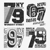 Brooklyn New York Vintage T Shirt Stamp Set. T-shirt Print Design. Printing And Badge, Applique, Lab poster