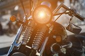 Vintage Classic Motorcycle Headlight. Headlamp Closeup. Detail Of A Classic Motorcycle Engine. poster