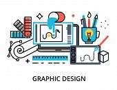 Modern Flat Thin Line Design Vector Illustration, Infographic Concept Of Graphic Design, Designer It poster