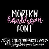Grunge Distress Font. Modern Dry Brush Ink Letters. Handwritten Alphabet. Vector Illustration poster