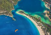 Aerial View Of Blue Lagoon In Oludeniz, Turkey. Colorful Summer Landscape With Sea Spit, Green Fores poster