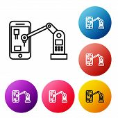 Black Line Industrial Machine Robotic Robot Arm Hand On Mobile Phone Factory Icon Isolated On White  poster