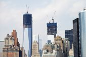 NEW YORK CITY, USA - JUNE 10: The new buildings on the WTC site are being built, as seen from the ri