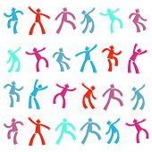 Set of funny cartoon dancing people. Vector collection of templates.