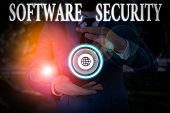 Handwriting Text Writing Software Security. Concept Meaning Implemented To Protect Software Against  poster
