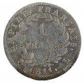 1811, France 1st Empire, Napoleon I. Silver Coin. 1 Franc. Reverse. poster