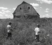 Boys Walking Black And White