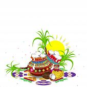 Illustration Of Happy Pongal Greeting Card Background. Happy Pongal Religious Festival Of South Indi poster