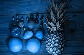 Blue Tropical Fruits And Nuts Vegan Diet. Pineapple, Grapefruit, Orange, Pear, Walnuts,weight Loss F poster