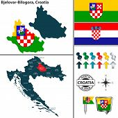 Vector Map Of Bjelovar Bilogora And Location On Croatian Map poster