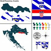 Vector Map Of Brod Posavina And Location On Croatian Map poster